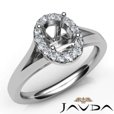 Diamond Engagement Oval Semi Mount 14K W Gold Halo Pave Setting Ring 0.20Ct