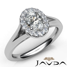 Floating Halo Split Shank Oval diamond engagement Ring in 14k Gold White