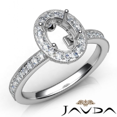 Halo Pave Setting Diamond Engagement Oval Semi Mount Ring 14K White Gold 0.50Ct