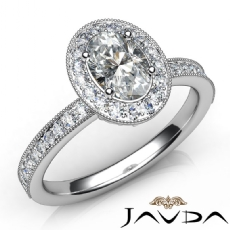 Milgrain Edge Peekaboo Halo Oval diamond engagement Ring in 14k Gold White