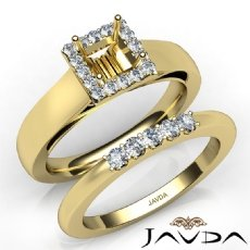 U Prong Diamond Engagement Semi Mount Ring Princess Bridal Set 14k Gold Yellow  (0.42Ct. tw.)