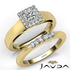 Halo Prong Setting Bridal Set Princess diamond engagement Ring in 14k Gold Yellow