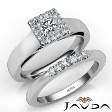 Halo Prong Setting Bridal Set Princess diamond engagement Ring in 14k Gold White
