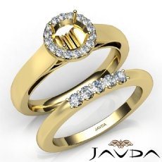 U Prong Diamond Engagement Round Semi Mount Ring Bridal Set 14k Gold Yellow  (0.4Ct. tw.)