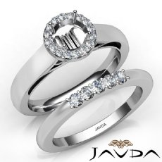 U Prong Diamond Engagement Round Semi Mount Ring Bridal Set 14K W Gold 0.40Ct