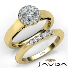 U Prong Setting Halo Bridal Round diamond engagement Ring in 14k Gold Yellow