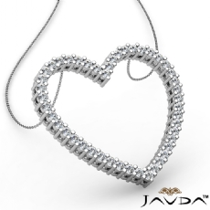 Round Diamond Heart Pendant 18k Gold White  (0.59Ct. tw.)