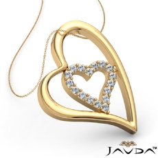 Round Diamond Heart Pendant 14k Gold Yellow  (0.25Ct. tw.)