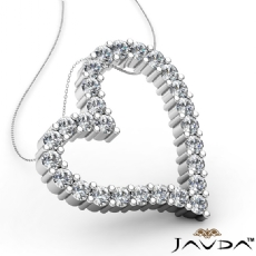 Round Diamond Heart Pendant 18k Gold White  (1.89Ct. tw.)