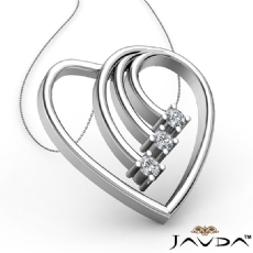 Round Diamond Heart Pendant 18k Gold White  (0.3Ct. tw.)