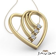 Round Diamond Heart Pendant 14k Gold Yellow  (0.3Ct. tw.)