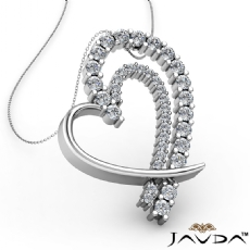 Round Diamond Heart Pendant 18k Gold White  (0.68Ct. tw.)