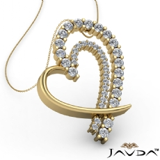 Round Diamond Heart Pendant 14k Gold Yellow  (0.68Ct. tw.)