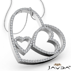 Round Diamond Heart Pendant 18k Gold White  (1.04Ct. tw.)