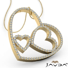 Round Diamond Heart Pendant 14k Gold Yellow  (1.04Ct. tw.)