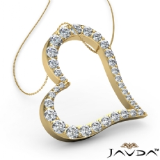 Round Diamond Heart Pendant 14k Gold Yellow  (1.08Ct. tw.)