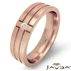 Men's 14k Rose Gold Cross Diamond Matte Eternity Wedding Band  (0.3Ct. tw.)