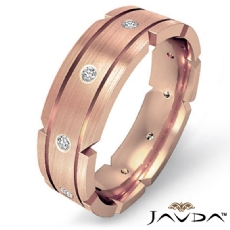 Grooved Bezel Diamond Matte Men's Eternity Wedding Band 18k Rose Gold  (0.21Ct. tw.)