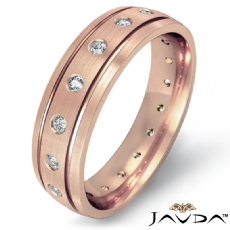 Bezel Set Diamond Matte Finish Men's Eternity Wedding Band 14k Rose Gold (0.35Ct. tw.)