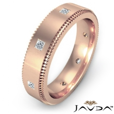 Princess Bezel Set Diamond Eternity Men's Wedding Band 18k Rose Gold  (0.4Ct. tw.)