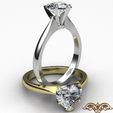 Tapered Solitaire Heart diamond  Ring in 14k Gold White