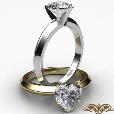 Knife Edge Solitaire Heart diamond  Ring in 14k Gold White