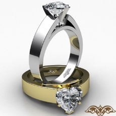 Flat Cathedral Solitaire Heart diamond  Ring in 14k Gold White