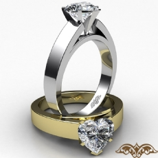 Flat Edge Cathedral Solitaire Heart diamond  Ring in 14k Gold White