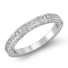 Women's Engagement Half Wedding Band Pave Set Diamond Ring 14k White Gold 1Ct