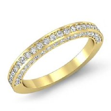 Women's Engagement Half Wedding Band Pave Set Diamond Ring 14k Gold Yellow  (1Ct. tw.)