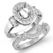 1.45Ct 3 Stone Diamond Engagement Ring 14k White Gold Bridal Set Oval Semi Mount - javda.com