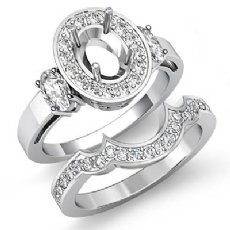 1.45Ct 3 Stone Diamond Engagement Ring 14K White Gold Bridal Set Oval Semi Mount