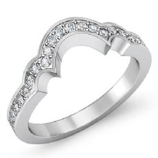 Pave Half Round Diamond Womens Wedding Matching Band 14k White Gold Ring 0.45Ct