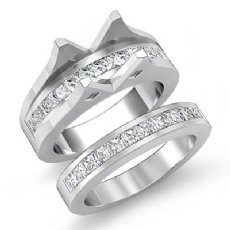 2.1 Ct Diamond Princess Channel Engagement Ring Round Bridal Set 14K White Gold
