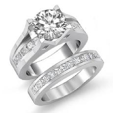 Channel Setting Bridal Set diamond Ring 14k Gold White