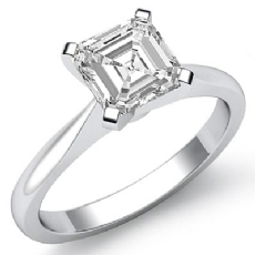 Tapered Solitaire Asscher diamond  Ring in 14k Gold White