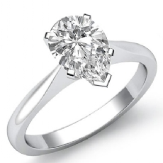 Tapered Classic Solitaire Pear diamond engagement Ring in 14k Gold White
