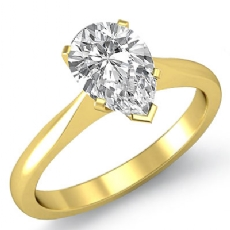 Tapered Solitaire Pear diamond  Ring in 18k Gold Yellow