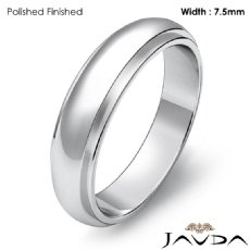 Men Wedding Band Dome Standard Fit Solid Ring 7.5mm 14k White Gold 7.4g 4sz