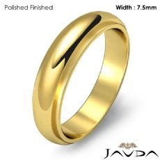 Men Wedding Band Dome Standard Fit Solid Ring 7.5mm 18k Gold Yellow 8.4g 5