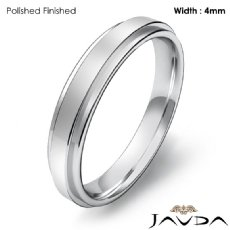 Mens Comfort Fit Wedding Plain Band Flat Ring 4mm 14k White Gold 3.8g 4sz