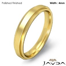 Mens Comfort Fit Wedding Plain Band Flat Ring 4mm 18k Gold Yellow 4.4g 5