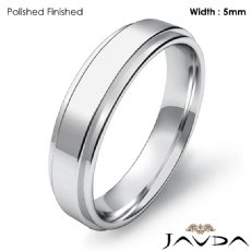 Flat Step Solid Ring Mens Wedding Plain Band 5mm 14k White Gold 4.9g 4sz
