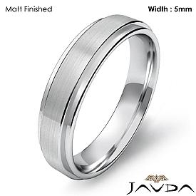 Flat Step Solid Ring Mens Wedding Plain Band 5mm 14k White Gold 4.9g 4sz