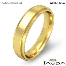 Flat Step Solid Ring Mens Wedding Plain Band 5mm 18k Gold Yellow 5.6g 5