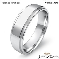Mens Wedding Plain Band Flat Step Solid Ring 6mm Platinum 950 9.3g 5