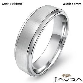 Mens Wedding Plain Band Flat Step Solid Ring 6mm 14k White Gold 6.1g 4sz