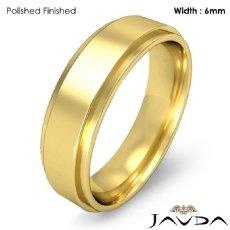 Mens Wedding Plain Band Flat Step Solid Ring 6mm 18k Gold Yellow 6.9g 5