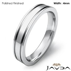 4mm Flat Fit Solid Ring Mens Wedding Plain Band Platinum 950 7.2g 4