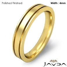 4mm Flat Fit Solid Ring Mens Wedding Plain Band 18k Gold Yellow 5.4g 4